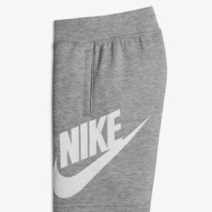 Nike Swoosh French terry heather grey boys shorts.
